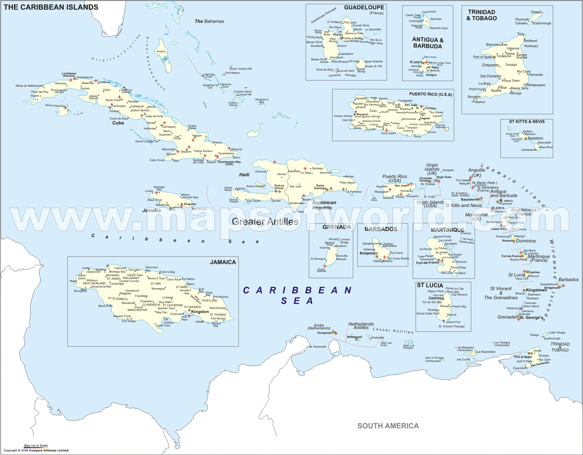 Island Caribbean Islands Map - Map of central america and the caribbean islands